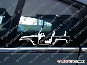 2x Car Silhouette sticker - Jeep Wrangler JK 2-door sport